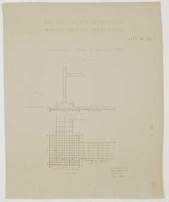 The New Zealand Co-op. Dairy Coy Ltd. Proposed Cheese Factory at Ngatea. Sheet No. 20. Foundations at Ends of Receiving Stage.