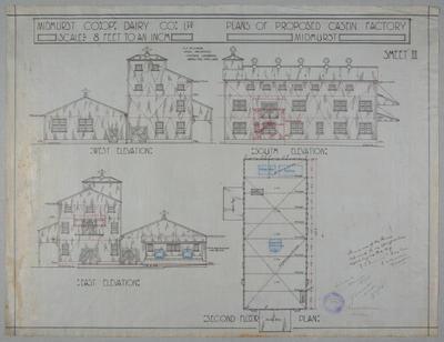Midhurst Co-op. Dairy Co. Ltd. Plan of Proposed  Casein Factory, Midhurst. Sheet II. Second Floor Plan, West Elevation, East Elevation, South Elevation.