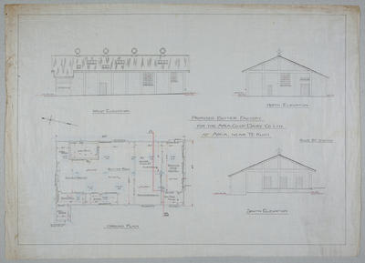 Proposed Butter Factory for the Aria Co-op Dairy Co Ltd. at Aria, Near Te Kuiti. Ground Plan, West Elevation, North Elevation, South Elevation.