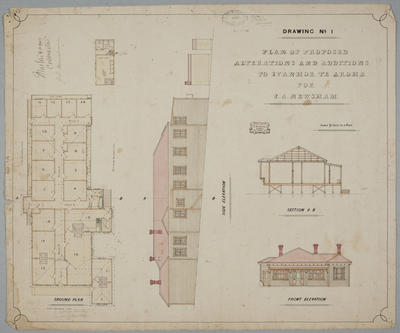 Plan of Proposed Alterations and Additions to Ivanhoe Te Aroha for J.A. Newsham. Drawing No. 1.