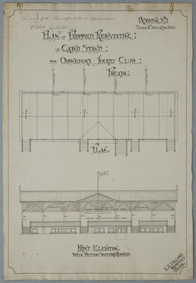 Plan of Proposed Reinstating of Grandstand  for Ohinemuri Jockey Club , Paeroa. Drawing No.1.