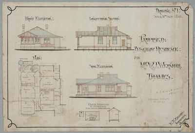 Proposed Bungalow Residence for Mr W.J. Wernham, [Parawai,] Thames. Drawing No.1.