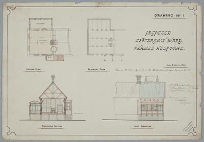 Proposed Childrens Ward, Thames Hospital. Drawing No.1.
