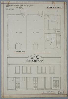 [Mail Buildings, Te Aroha 1910] Drawing No.1