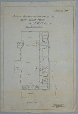 Proposed Alterations and Additions to Hall - Wharf Street, Paeroa - for Mr W.M. Cullen.Drawing No.1. Ground Plan
