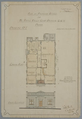 Plan of Proposed Offices For The Thames Valley Co-op. Dairying Co Ltd, Paeroa. Drawing No.1.