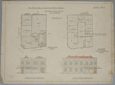 Thames Valley Electric Power Board, Te Aroha Proposed Head Office at Te Aroha. Sheet No.1.