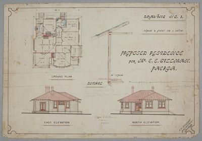 Proposed Residence for Mr E E Gillman, Paeroa. Drawing No.1