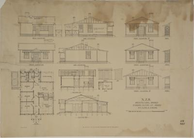 N.Z.Railways. Architectural Branch. Standard Factory Cut Houses. No 2 Class B 5 Rooms