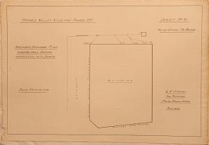 Thames Valley Electric Power Bd. Head Office Te Aroha. Sheet No.6 Amended Drainage Plan showing only Drains connected with Sewer.