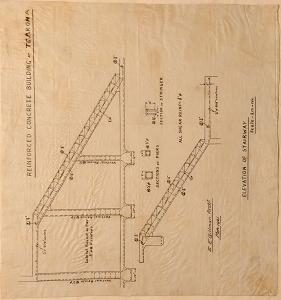 [Te Aroha Electric Power Board] Reinforced Concrete Building  at Te Aroha. Elevation of Stairway.