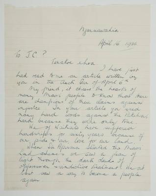 [Letter to James Cowan] To JC? Ngaruawahia April 6th 1936