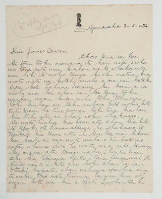 [Letter to] James Cowan – Ngaruawahia 3 May 1936