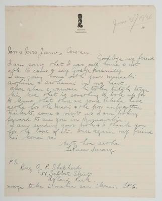 [Letter to] Mr & Mrs James Cowan – 5 June 1936