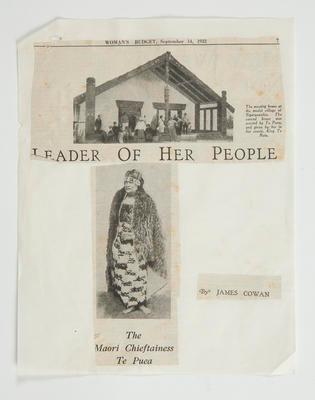 Newspaper clipping: Princess Te Puea