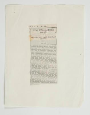 Newspaper clipping: New Zealanders First