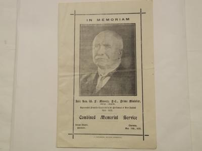 Leaflet - Order of Service for  W. F. Massey