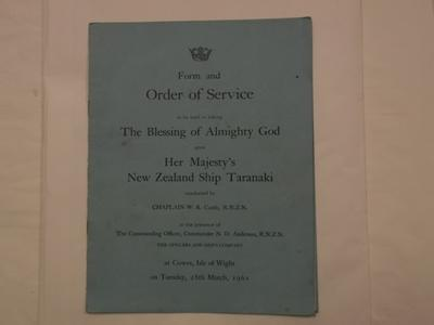 Leaflet - Order of Service NZ Ship Taranaki