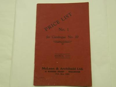 Booklet - McLean & Archibald Ltd Price List