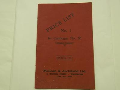 Booklet - McLean & Archibald Ltd Price List