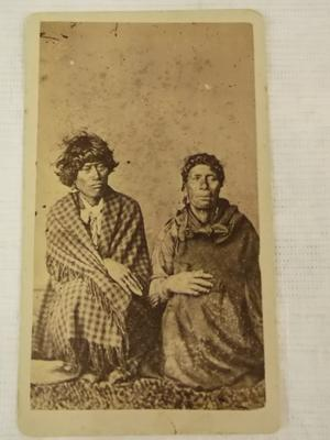Photograph - Maori Woman and Man Sitting