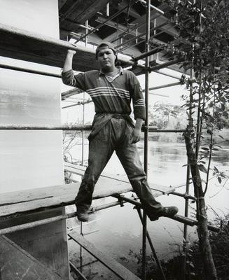 Andrew, contract worker, repairing undercarriage of the Fairfield Bridge, Hamilton