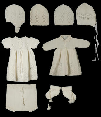 Layette Set - Infants Matinee Jacket, Dress, Pants, Hat and Pair of Booties.