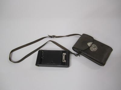Camera, folding hand and case