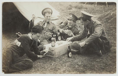 "Photograph: World War I: ""Four N.C.O's of No.7 Coy New Zealand Garrison"""
