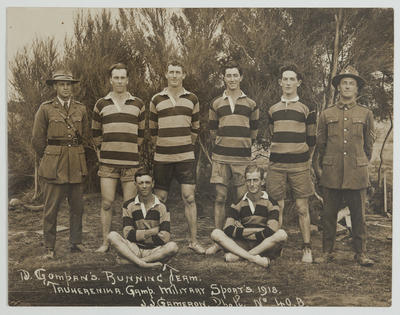 "Photograph: ""D Company's Running Team"" - Tauherenikau Camp, Military Sports, 1918"
