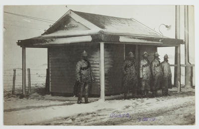 Photograph: Guard - During Snow Storm, July 1918