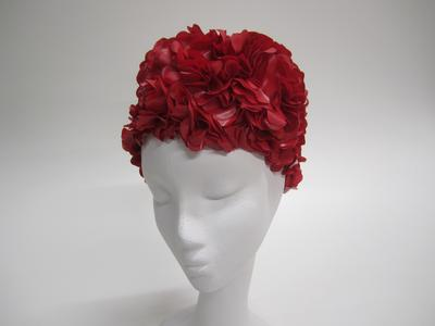 Women's red bathing cap