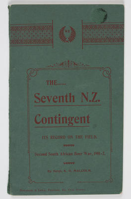 Booklet; The Seventh NZ Contigent, Its Record On The Field