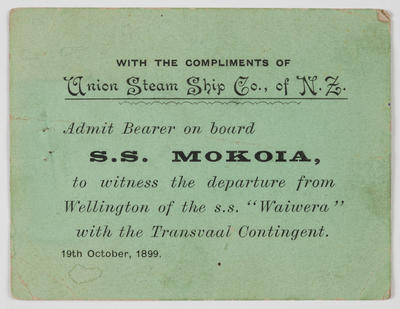 Admission ticket to admit bearer on board S.S. Mokoia