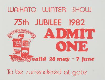 Admission Ticket - Waikato Winter Show