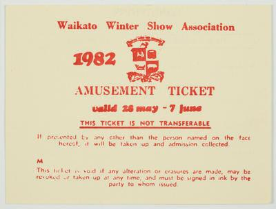 Amusement Ticket - Waikato Winter Show 1982