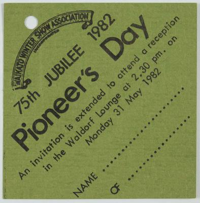 Invitation - Pioneer's Day Reception
