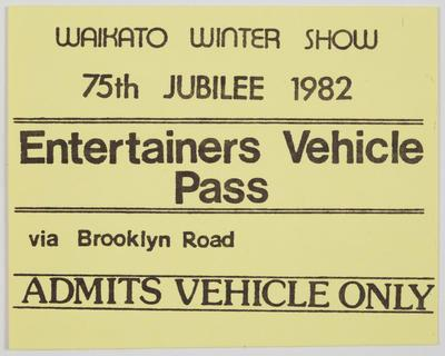 Pass Ticket - Entertainers Vehicle Pass
