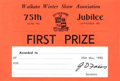 Certificate, First Prize at Waikato Winter Show Association