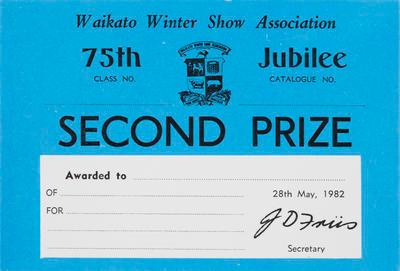 Certificate, Second Prize at Waikato Winter Show