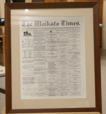 Newspaper:  1st edition of Waikato Times Vol 1