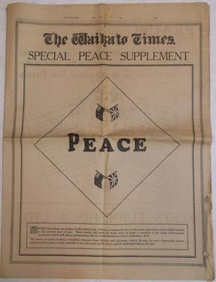 Newspaper - Waikato Times Peace Supplement