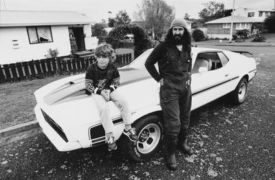 Warwick Lammas With His Son Dean Shows Off His Mustang