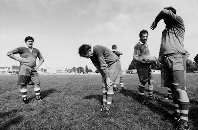 Jack Gerrand, Centre, Catches His Breath At A 20-minute Interval During A Golden Oldies Rugby Match Against Tokoroa