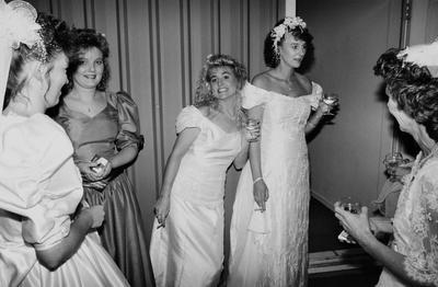 Jo-Anne Griffin, Centre Right, And Her Attendant Victoria Dauphin Have A Last-minute Cigarette