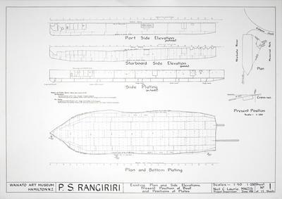 Architectural drawings for P.S. Rangiriri