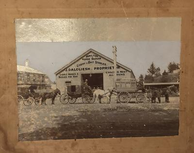 Photograph - Mr Edward Charles Moore in front of Hamilton Horse Bazaar