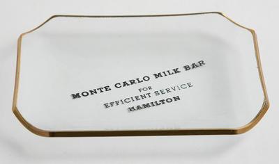 Souvenir dish - Monte Carlo Milk Bar, Hamilton.