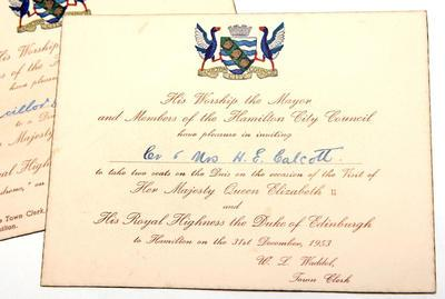 Invitation - to a dinner and to meet Queen Elizabeth II and the Duke of Edinburgh during their visit to Hamilton