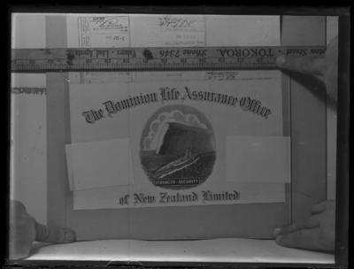 Glass plate negative – The Dominion Life Assurance Office of New Zealand Limited logo